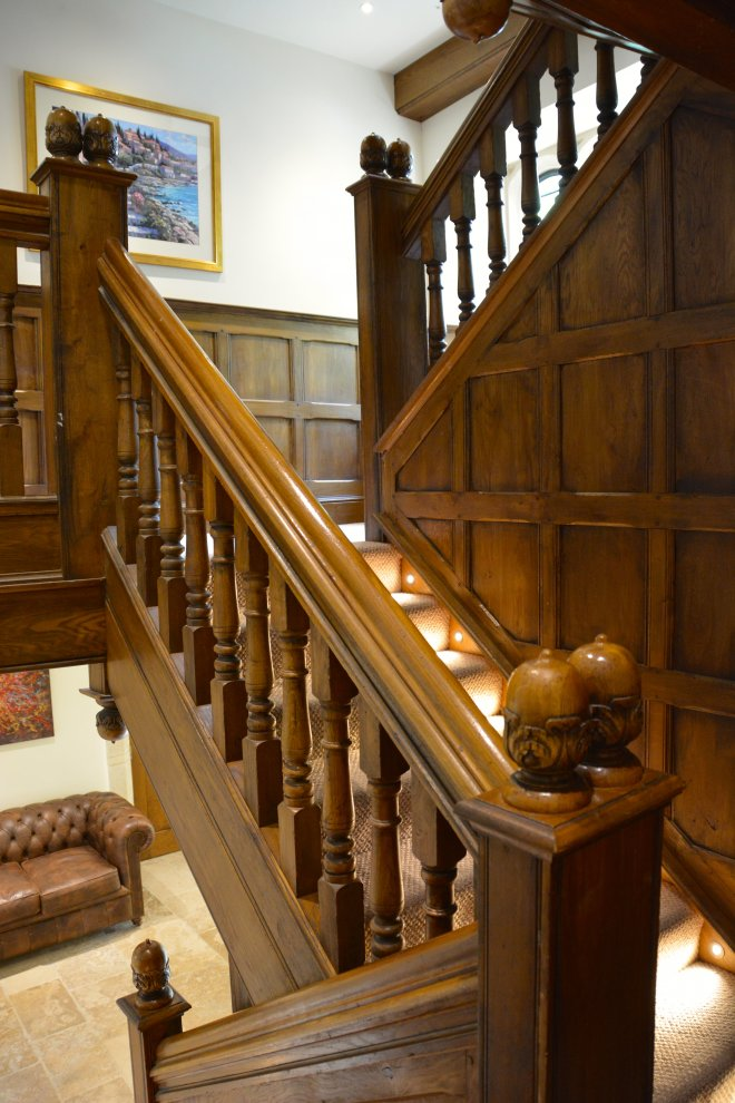 Wrap And Clad Refurbished Staircase With Panelling In Solid Oak