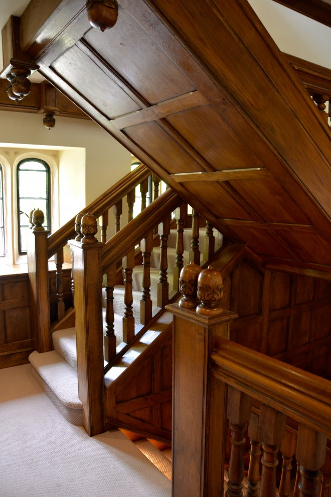 Wrap U0026 Clad Refurbished Oak Staircase And Under Stair Panelling Complete  With Hand Carved Acorn Finials