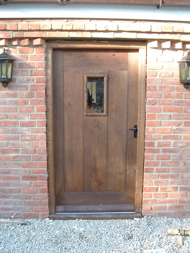 Back Door And Frame In Solid Oak Complete With Small Window