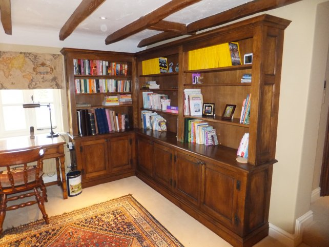 Oak bookcase in a snug