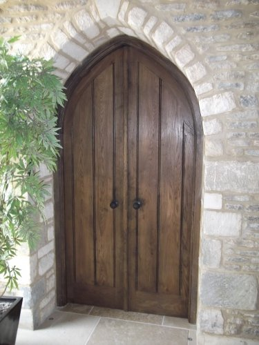 a pair of gothic topped framed planked doors & Oak Exterior Doors | Distinctive Country Furniture Limited ... Pezcame.Com