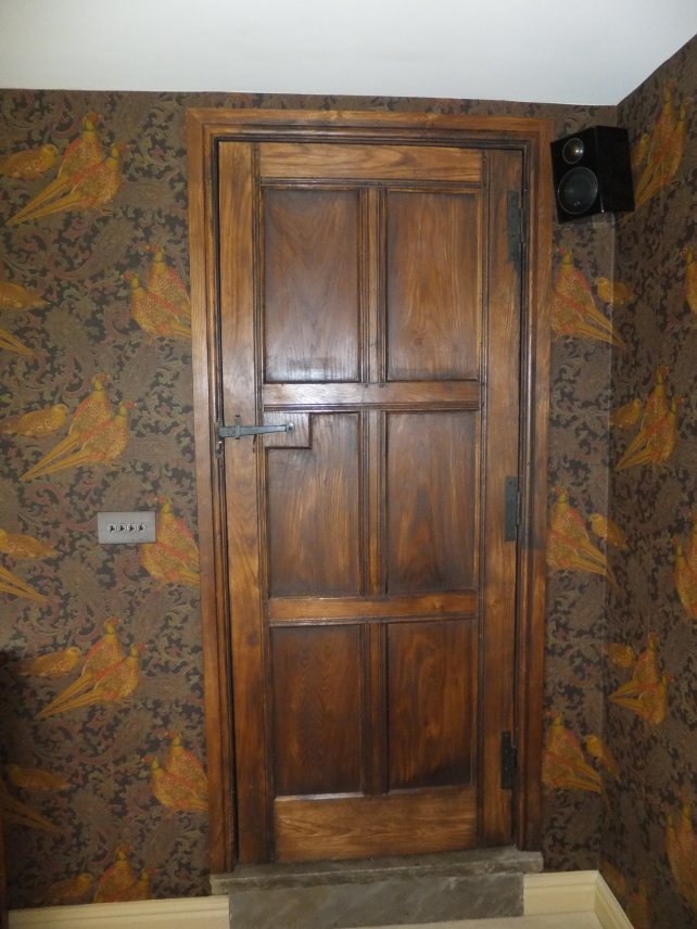 6 panelled oak door with iron handle and hinges