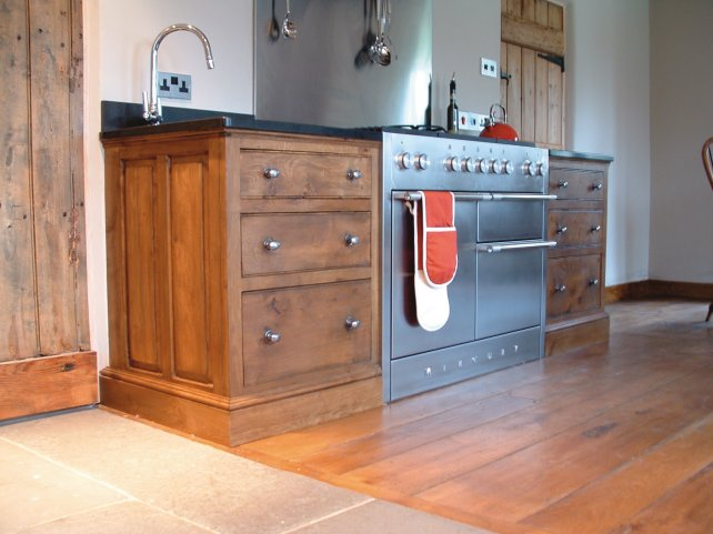 pan drawers in oak with an aged and polished wooden floor