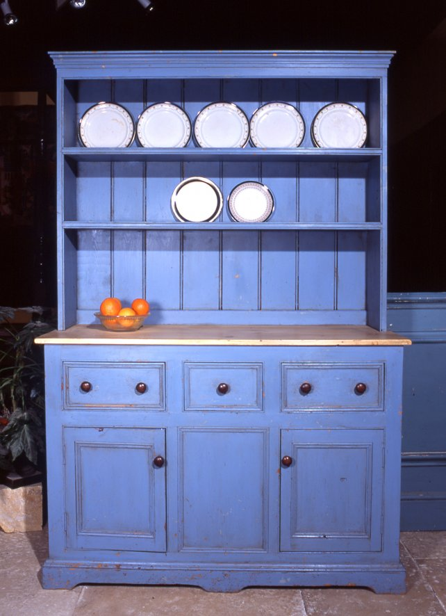 distressed painted dresser with wooden worktop
