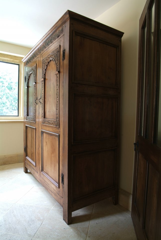 solid oak wardrobe with hand carved panels, aged and polished