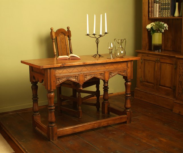 oak desk with hand carved ornate rails