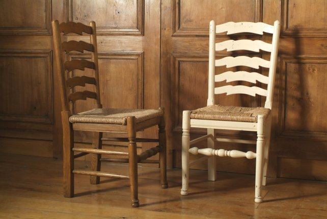 oak and painted ladder back chairs