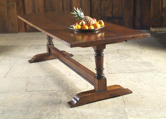 trestle table, aged and polished