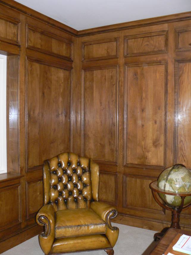 18th century style oak panelled room, large Georgian panels