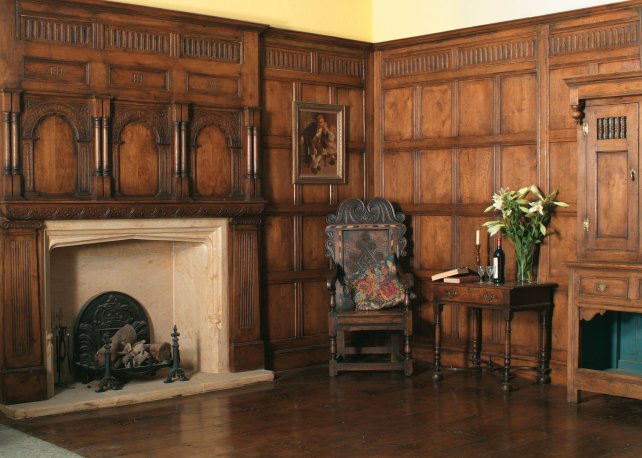 16th century oak panelling with frieze in our showroom