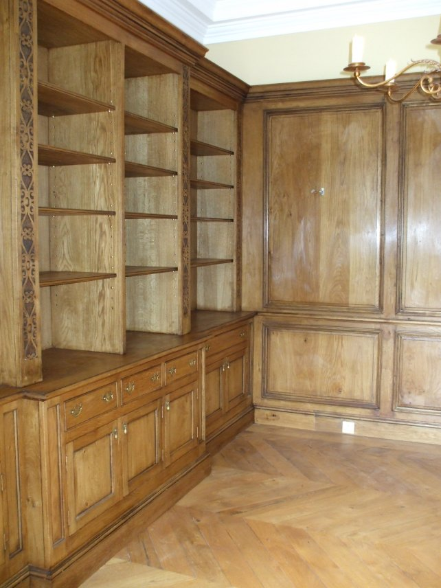 18th century style bookcase and panelling