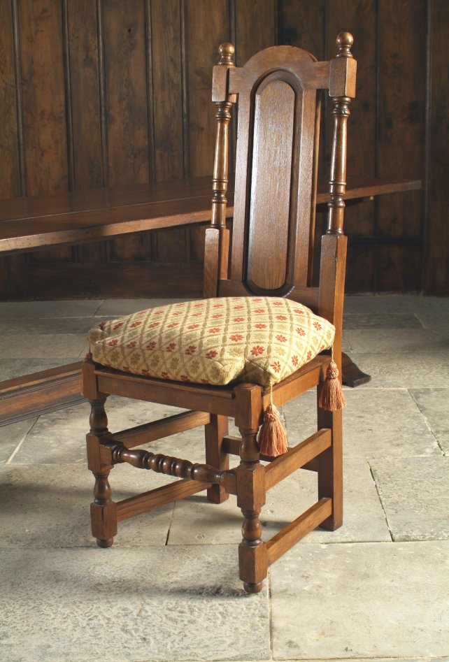 oak panel back dining room chair