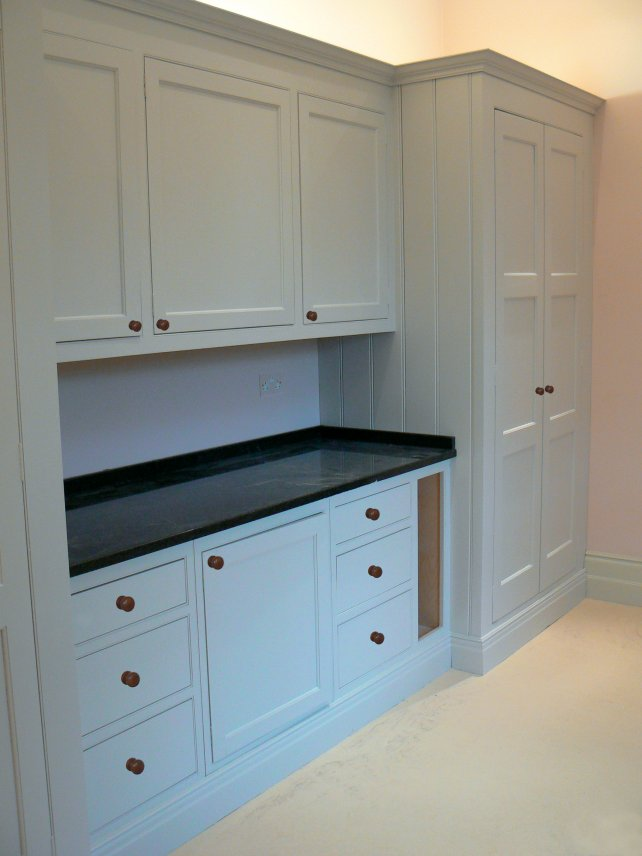 utility kitchen with larder unit, flat painted finish