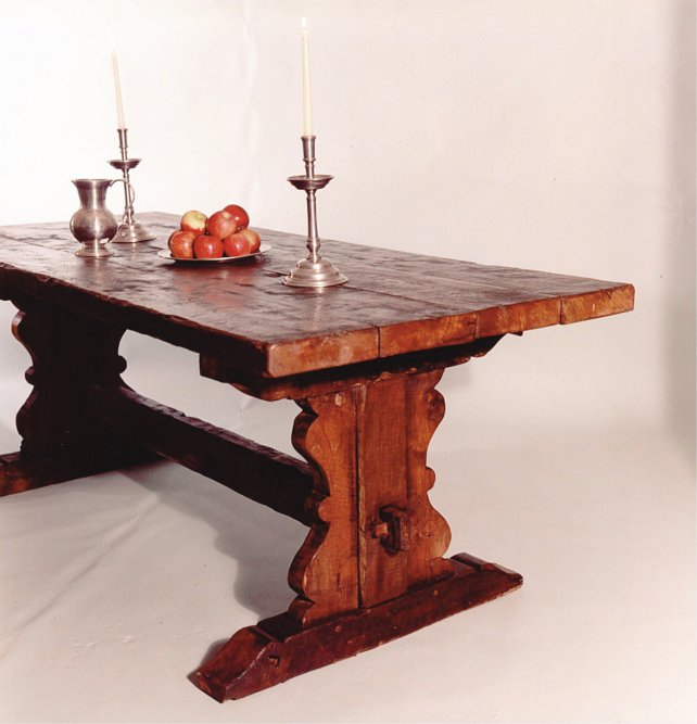 trestle table with shaped ends