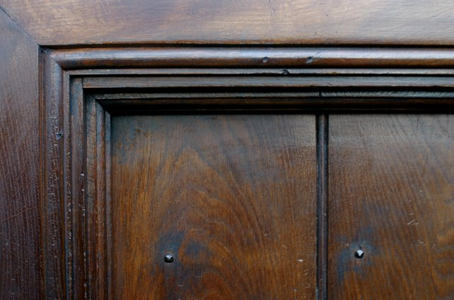 architrave, door lining and bead detailing of our planked doors with handmade nails