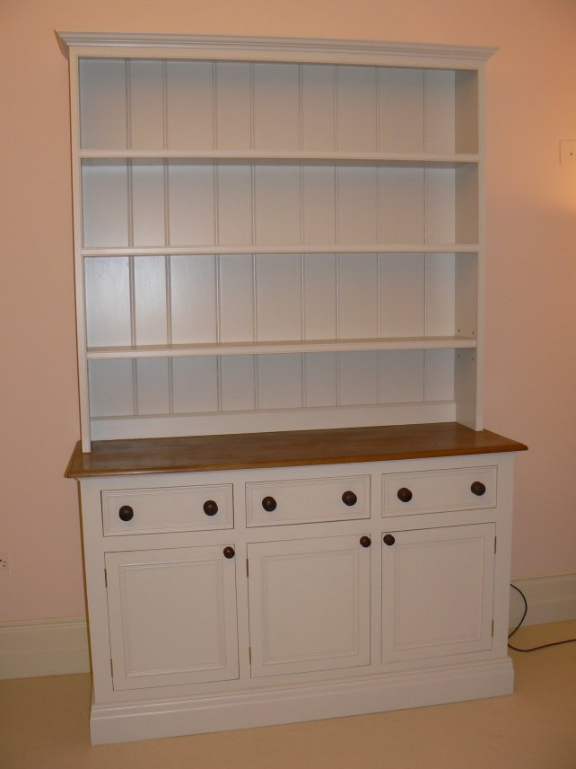 painted dresser in Farrow & Ball paint with wooden worktop