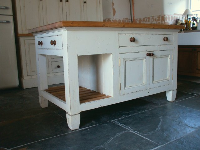 distressed painted island unit with oak worktop