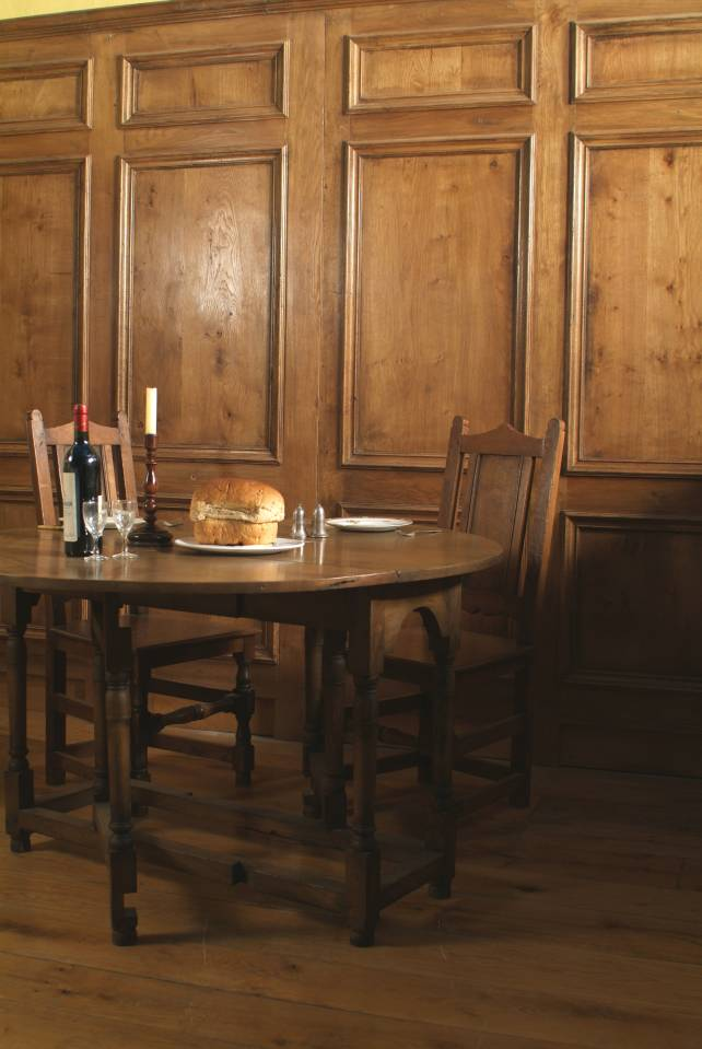 18th century Georgian style oak panelling, solid oak gateleg table and panel back chairs