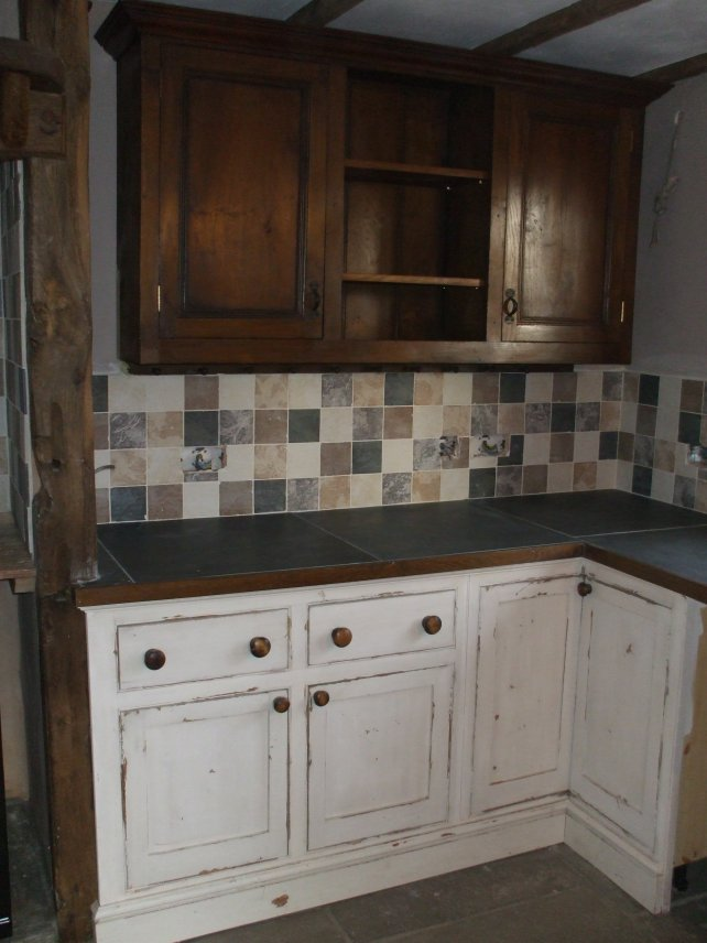heavily aged and distressed kitchen