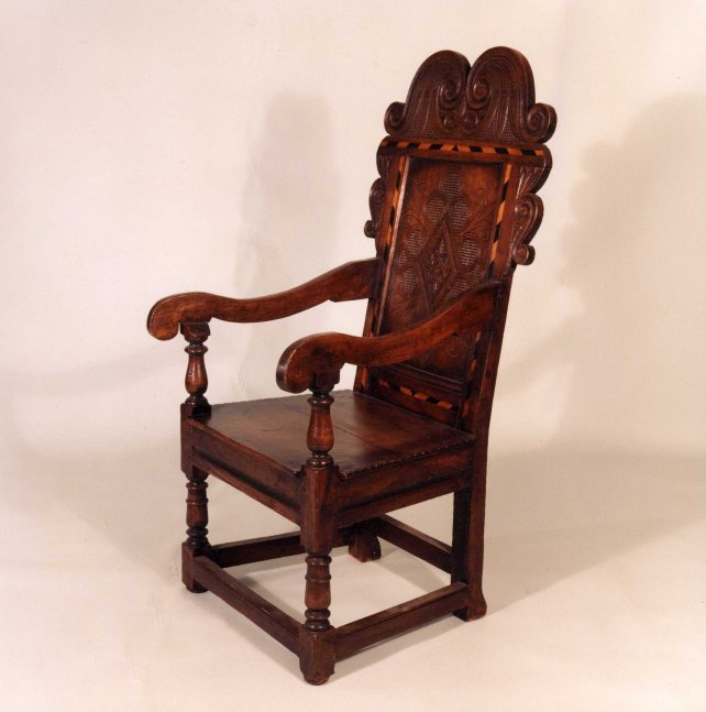wainscot chair with carving and inlay