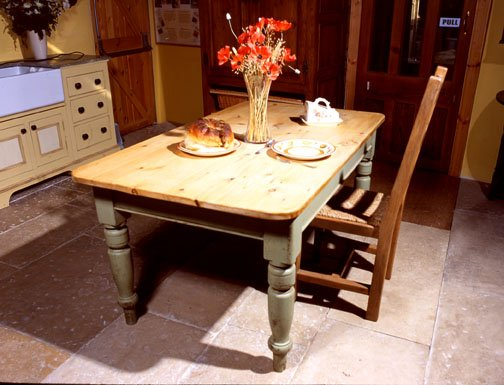 farmhouse table in pine