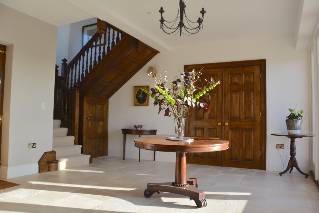 oak staircase and fielded panelled interior doors