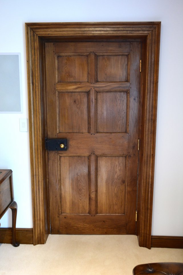 6 panelled period oak door, door lining and architrave