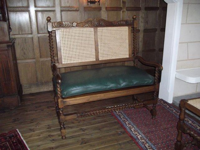 wicker backed oak settee
