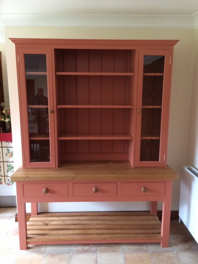 open dresser with rack, painted in farrow and ball paint