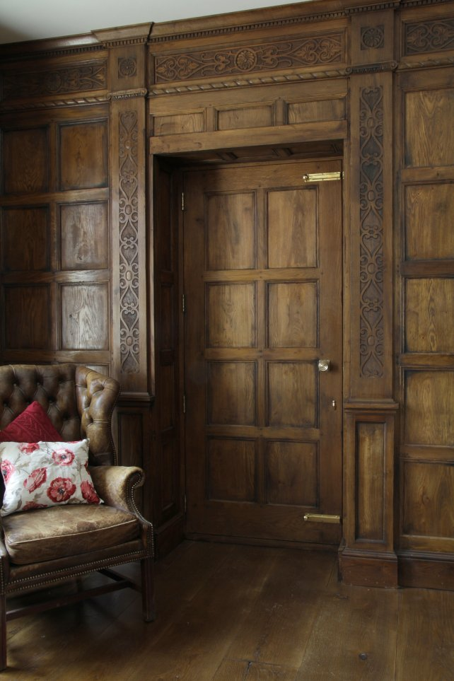 17th century oak panelling with carved pilasters