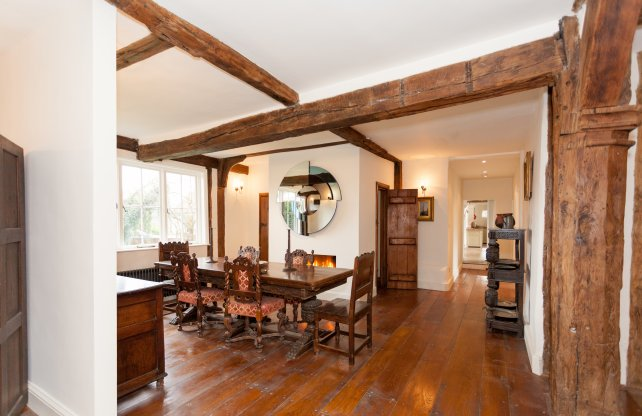 wide oak flooring, planked doors and refectory table