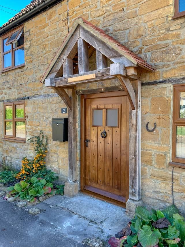 Oak cottage front door with windows