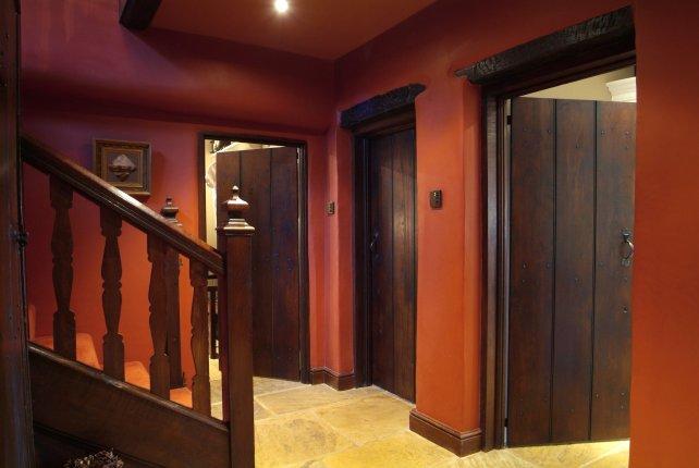 wide oak planked doors