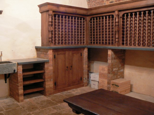 oak wine room and cubboard