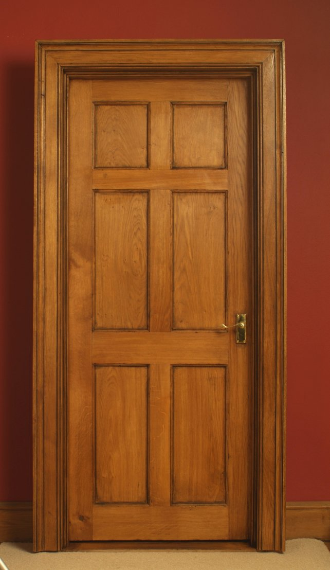 6 panelled door complete with door lining and architrave