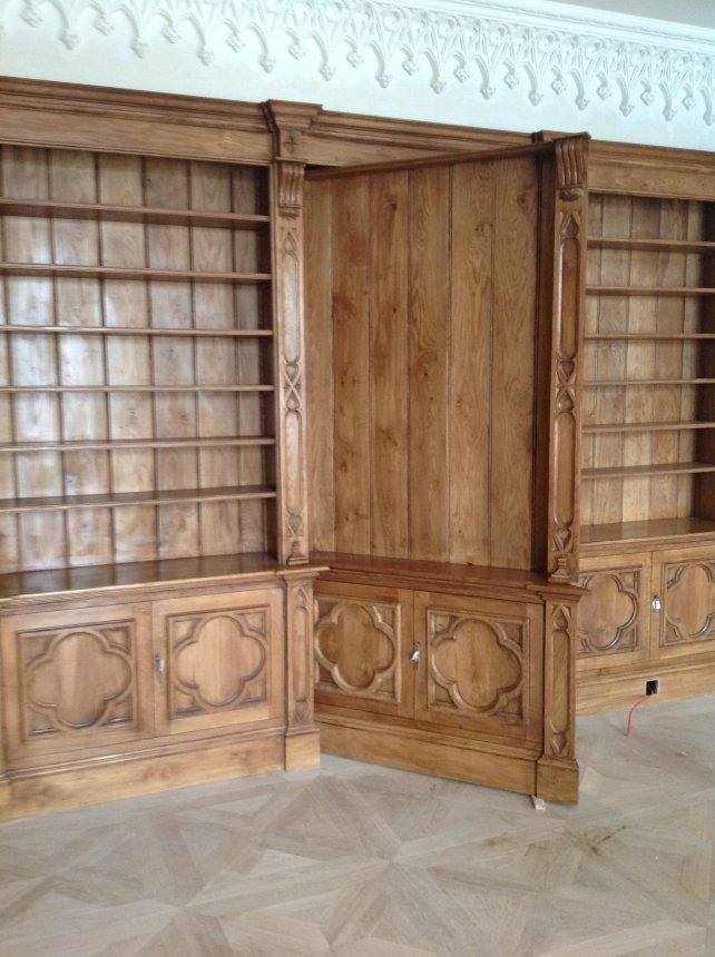 oak secret bookcase door