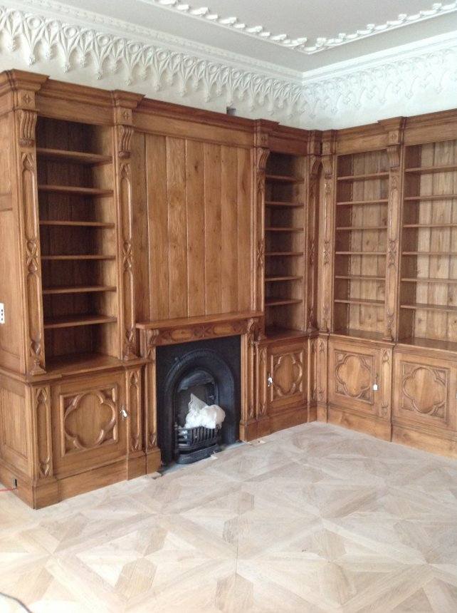 solid oak library and overmantel