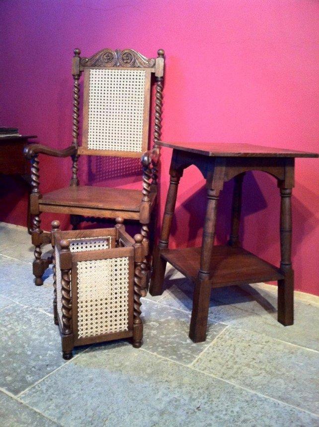 wicker waste basket and oak side table